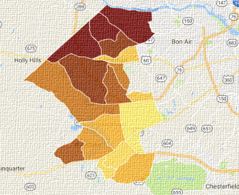 Midlothian VA carpet cleaning service area map