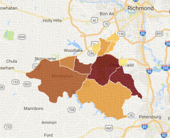carpet cleaning Chesterfield Virginia service map